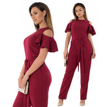 Buy 2018 women summer jumpsuit shoulder Ruffles overalls rompers women jumpsuit 5XL 6XL plus size women clothing mono mujer for $21.46 in AliExpress store