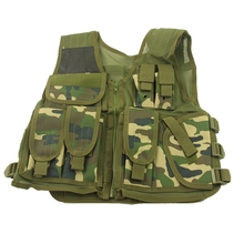 Woodland Camouflage Tactical Vest Nylon Military Paintball Wargame Hunting Vest CS Adjustable Outdoor Mesh Vest Men