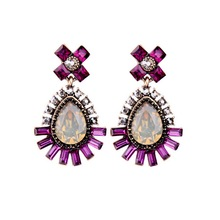 Purple Crystal Heart Drop Earrings for Women