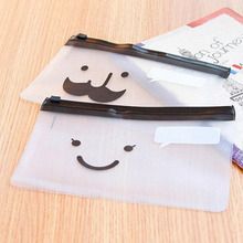 New Transparent PVC Pen Bag Zipper Bag Mustache Smile Face Slider Zip Travel Toiletry Cosmetic Bag Examination File Case