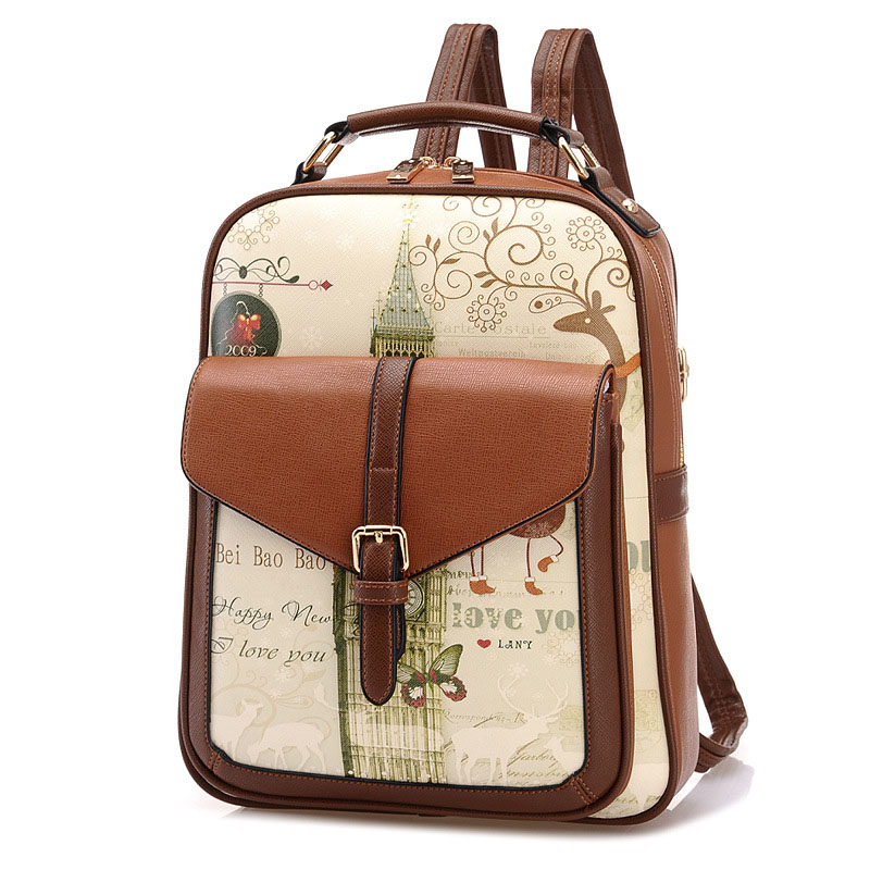 Canvas Printing Backpacks Women Backpacks New Fashion Printed Cartoon Cute Student Backpack BP0114<br>