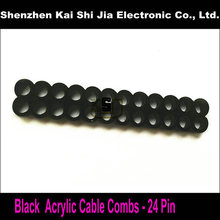 New Round Acrylic 24 Pin Cable Combs for 3mm Cables - Black(China)