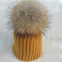 Real Fur Warm Winter 2016 Baby Hat Girl Boy Elastic Knit Crochet Children Hats Accessories with Fur Ball Kids Hats 2-15Years