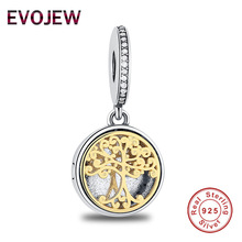 925 Sterling Silver Two Tone Locket,Family Tree & Roots Pendant Charm Fit Original Pandora Bracelet Necklace DIY Accessories