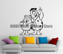 Cartoon Wall Stickers Cartoon Characters Fred Flintstone and Barney Study Interior Flat Wall Decor Vinyl Wall Decals Multicolor(China)