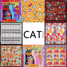 100% Silk Scarf Women Scarf Cat Scarf 2017 Foulard NeckerChief Animal Silk Bandana Small Square Silk Scarf Cat Office Lady Gift