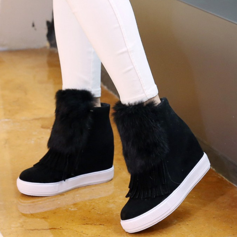 Plus Size 43 Autumn Winter Tassel Ankle Boots Women Shoes Increasing Height Women Boots Women Shoes Leather Heels Black Boots<br>