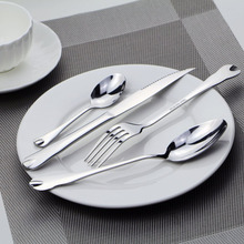 4pc/set Dinnerware Stainless Steel Cutlery Smooth Silver Fork Knives Set Tableware -46