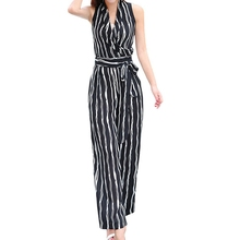 Buy New 2018 Summer Sexy Jumpsuits Romper Women Sets One Pieces Workout Striped Halter Elegant Casual Bodycon Ladies Playsuits