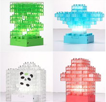 DIY Toy building bricks Tetris Puzzle LED Baby Night Light USB/Battery Gadget Building block Lamp Colorful Pen Pot Toy
