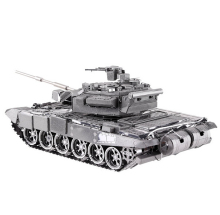 Free Shipping Metal Works DIY 3D Laser Metal Models Assemble Miniature Metal 3D Model Metallic Nano T-90A MBT tank model Puzzle(China)