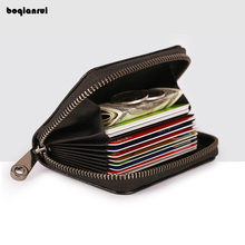 BoQianRui's Genuine Leather Card Holder Zipper Female ID Credit Card Package Fashion Solid Case Bag Wallet(China)