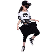 3T-12T Girls HipHop Dance Clothes Short-sleeved t shirt+Haren trouser fashion Kids sports Suit girl Children Clothing Sets(China)