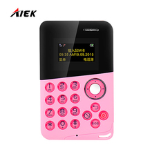 Newest Mini Card Phone AIEK/AEKU M8 Low Radiation Bluetooth Message Color Screen Childrens Pocket Cell Phones PK AIEK M5 E1 C6