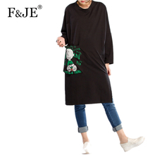 F&je New 2017 Spring Women's Printing Loose Long Dresses Femme Casual Pockets Clothing Fashion Women Plus Size Dresses J011(China)