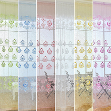 New Fashion design modern transparent hook floral print curtains for window home office room