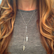 Summer Trendy Silver Plated Chains Necklace Tassel Feather Necklace for Women  XL061