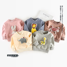 Cartoon Animal Patchwork Childrens T Shirts 95% Cotton Long Sleeves Infant Baby Boys Girls Shirt Tops Tees Sweatshirt for Autumn
