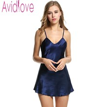 Avidlove Stain Nightgown Women Slik Sleepwear Sexy Night Dress V Neck Strap Solid Nightwear Sleep Dress Female Home Clothes(China)
