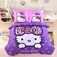 Hello Kitty Printed Bedding Set For Girls/Kids Candy Color Cotton Duvet Cover/Sheet/Pillowcase/Comforter Twin Queen Cat Beddings