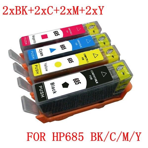 8 PCS 2 SETS OF CZ121AA-CZ124AA compatible ink cartridge for HP685 685XL  Deskjet Ink Advantage 3525/4615/4625/5525<br><br>Aliexpress
