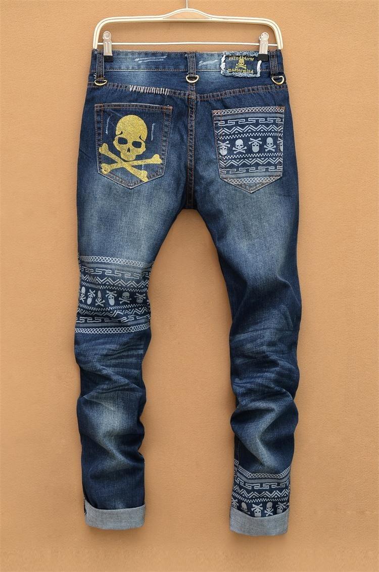 Mens Ripped jeans male new Runway slim jeans denim Biker Slim jeans hiphop pants Washed Printed Skull blue jeans for menОдежда и ак�е��уары<br><br><br>Aliexpress