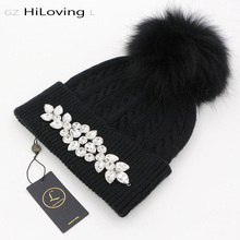 GZHilovingL 2017 New High Diamonds Winter Warm Beanies Hats For Womens Female Girls Soft Wool Knitted Fur pompom Beanie Skullies(China)