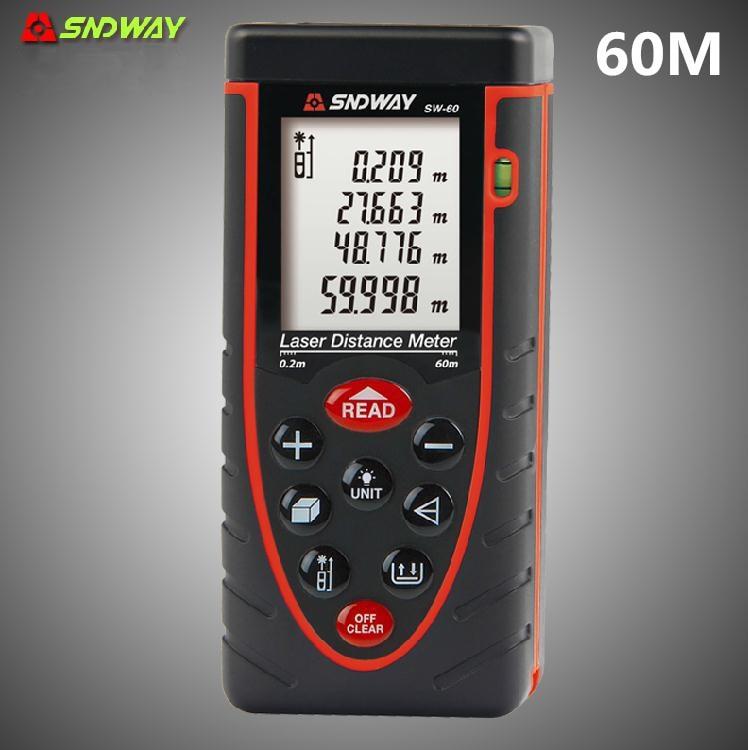 SNDWAY Laser range finder tape 60m precision 2mm laser distance meter measuring with m/in/ft volume tester<br>