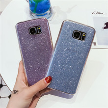 Luxury Shining Glitter Phone Case For Samsung S7 Edge Crystal Bling Soft Tpu Silicone Back Cover pink blue Silver black gold