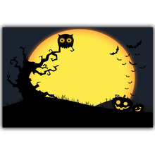 Halloween Poster Pumpkins, Black Cat, Witch's Broom Modern Cartoon Art Picture For Home Decoration Silk Poster and Prints QT072