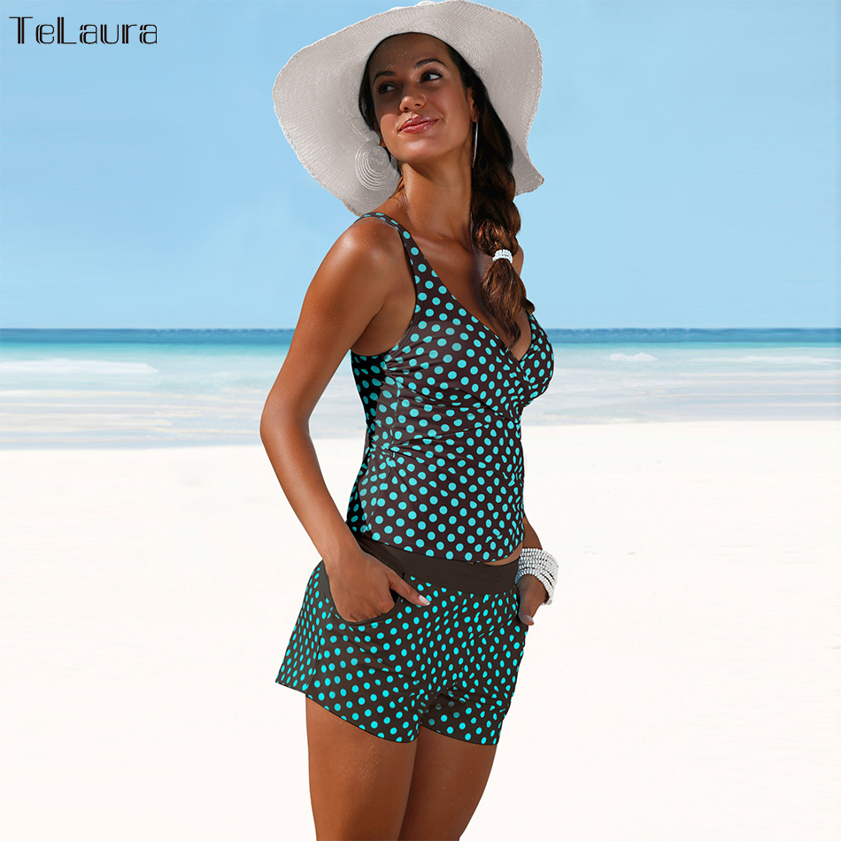 2018 New Plus Size Swimwear Women Swimsuit Two Pieces Tankini Padded Bathing Suit Polka Dot High Waist Bikini Set Beachwear 4