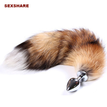 imitation Fox tail,cat tail,dog tail spiral Anal plug Stainless steel butt plug cosplay anal sex toys metal butt plug