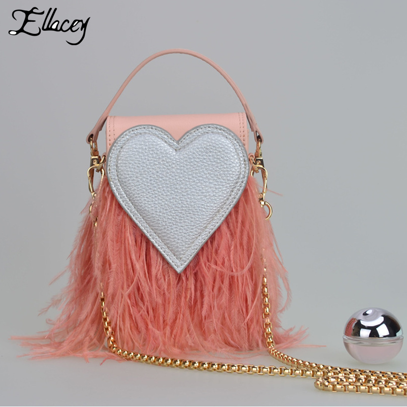 New 2017 Autumn Winter Sweet Love Heart Bags Women Ostrich Feathers Box Chain Shoulder Bags Fresh Lady Small Messenger Bag<br>