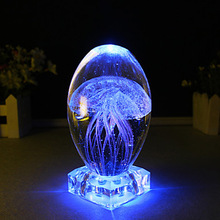 Novel Colorful LED Night Light Crystal Crafts Small Night Lamp Table Lamp Wedding Birthday Christmas Gifts Luminous Jellyfish