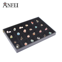 ANFEI New Fashion 24 grids Black Ring Earrings Necklace Velvet Jewellery Display Box Cufflinks Storage Case Organizer