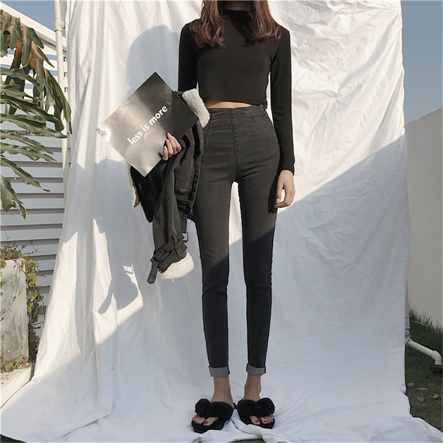 Skinny Jeans For Women High Waist Side Zipper Elastic Slim Denim Pencil Pants Ankle Length Femme Trousers Female Boyfriend Jeans
