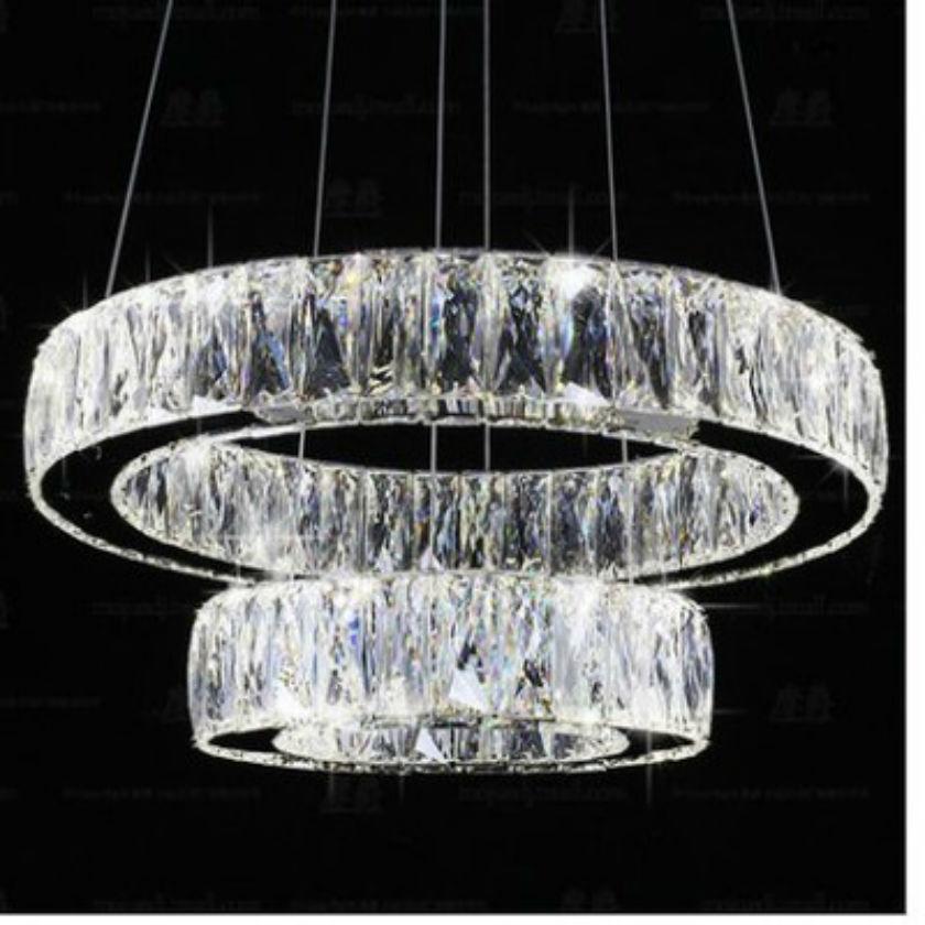 Modern Chrome Chandelier Crystals Diamond Ring LED Lamp Stainless Steel Hanging Light Fixtures Adjustable Cristal LED Lustre<br>