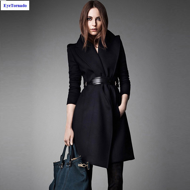 Buy Fashion Women autumn winter long casual belted work wool cashmere  blends pea coat British style casacos outwear blue 7015 Online 6a8a6cff4c