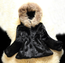 New 100% Genuine Whole Skin Rabbit Fur Coat Luxury Real Natural Raccoon Fur Hood Full Pelt Fur Waistcoat Wholesale WSR50(China)