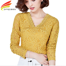 3XL Women Lace Hollow Out Yellow Green Blouses 2017 Autumn Fashion Casual Ladies Tops Long Sleeve Shirts Femme Blusa Plus Size(China)