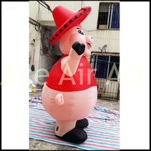 Beautiful Inflatable Pig Miss With Hat For Barbecue Advertising or BBQ Party such as Roasted Suckling Pig(China)