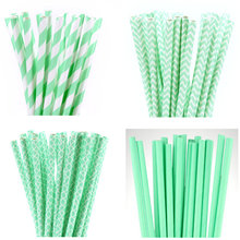 25pcs Mint Paper Straws for Baby Shower Wedding Party Kids Birthday Party Decoration Supplies Paper Drinking Straws