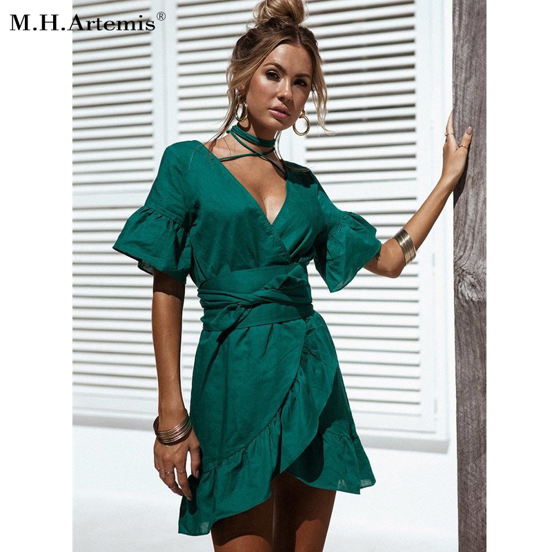M.H.Artemis 2017 Autumn New ruffle wrap dress Women sexy v neck Bodycon dress women boho chic Elegant tied waist bandage dress