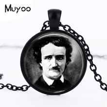 Edgar Allan Poe necklace Antique Raven Nevermore Black and White Art pendant Vintage portrait jewelry HZ1(China)
