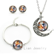Vintage Happy Boys and Girls photo silver color pendant necklace earrings bracelet women jewelry set kids Christmas gift CM107