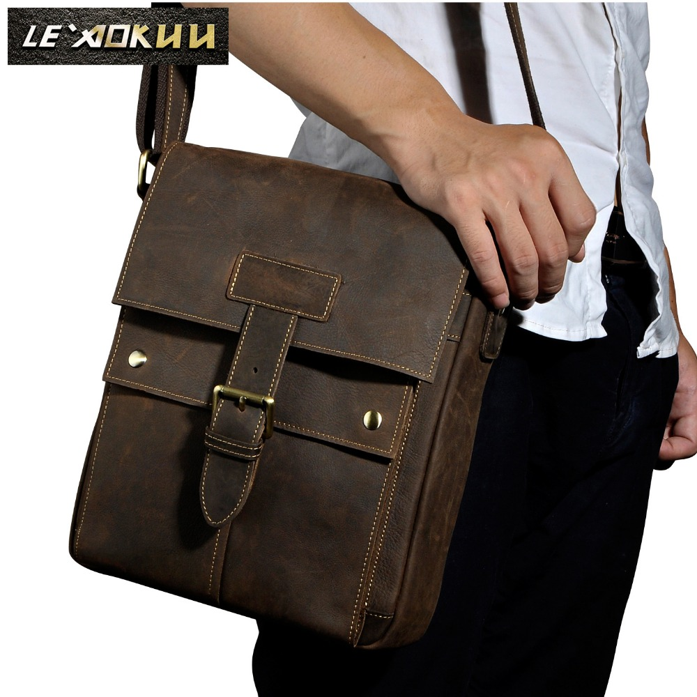 Crazy horse leather Men Fashion Shoulder crossbody Messenger Bag Real leather Designer Mochila University Book School bag 8571<br>