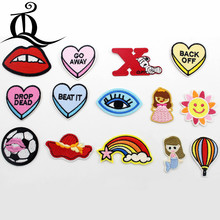 1pcs Sewing Clothes Gun Patch Iron On Embroidery Patches Hotfix Applique Motifs Sew On cartoon football heart Rainbow girl Patch