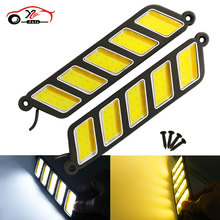 car-styling 2PCS Flexible Waterproof White Amber Dual Color COB LED Daytime Running Lights DRL Fog Lights Turn Signal Light New(China)