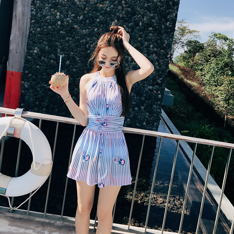 NIUMO NEW Skirt type one-piece swimsuit woman stripe spa Swimming suit Gather swimwear Beach swimsuit Swim<br>