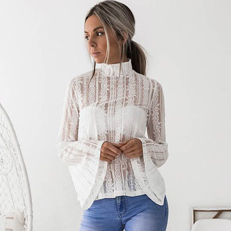 DeRuiLaDy 2018 Women Lace Blouse Shirt Elegant Flare Sleeve Long Sleeve Sexy Transparent Shits Casual Stand Chiffon White Tops 6